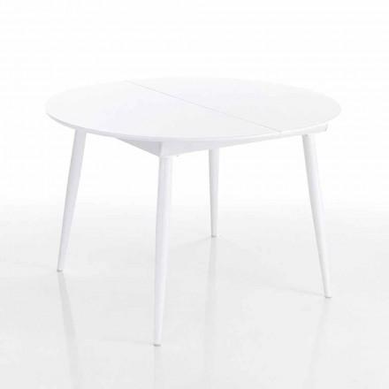 ausziehbarer runder Esstisch aus Mdf weiss - Ismaele