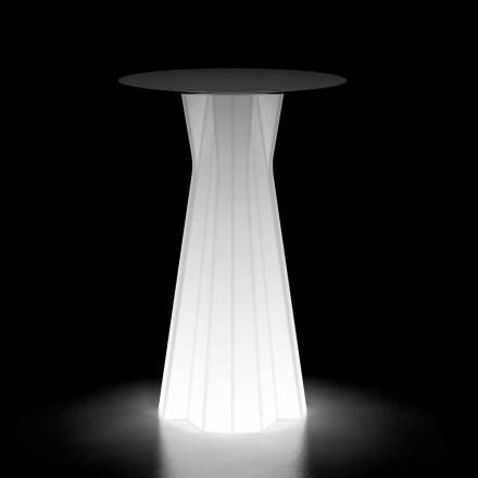 Leuchtender Tisch im Freien mit LED-Sockel und HPL-Platte Hergestellt in Italien - Tinuccia