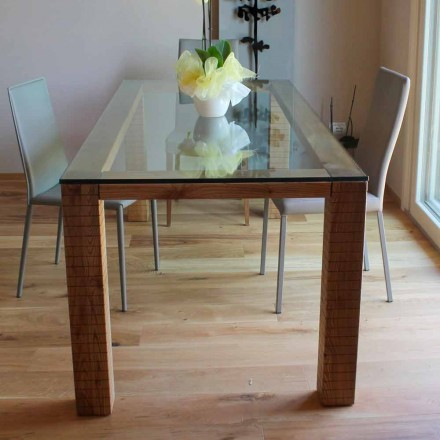 Tisch mit Kristallplatte und Eschenholz von Modero Made in Italy - Asella