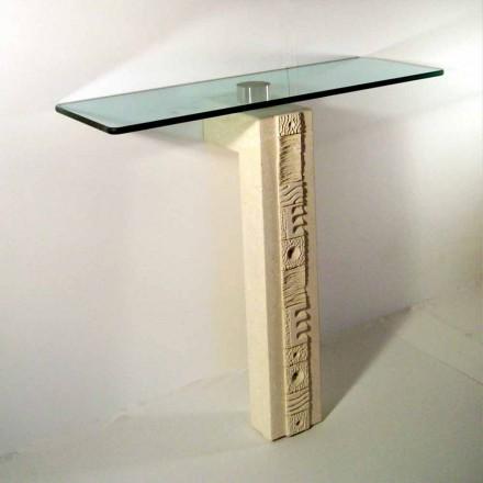 Konsolentisch rechteckig aus Stein und Kristall Abidos