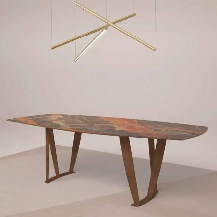 Luxus rechteckiger Tisch aus Ombra-Marmor von Caravaggio und Metal - Naruto