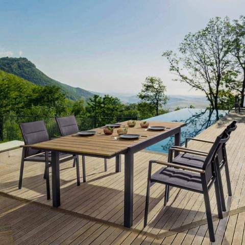 Ausziehbarer Tisch im Freien Bis zu 200 cm mit Platte aus Teakholz - Bobel-Finish