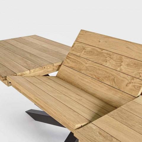 Ausziehbarer Tisch im Freien Bis zu 300 cm in Teak Homemotion - Selenia