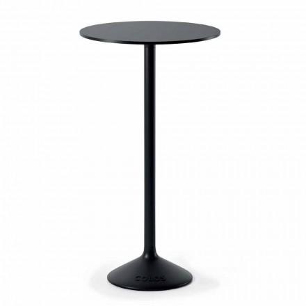 Hoher runder Tisch im Freien aus Gusseisenmetall und HPL Made in Italy - Condor