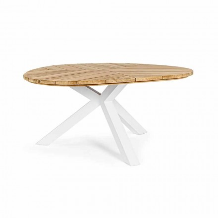 Runder Tisch im Freien aus Teakholz mit Aluminiumbasis, Homemotion - Selenia