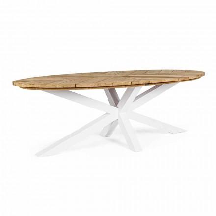 Gartentisch mit Teakholzplatte und Aluminiumfuß, Homemotion - Leotto