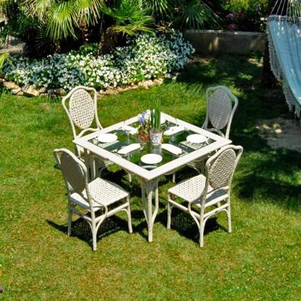 Gartentisch mit Glasplatte Romeo Design handmade in modernem Design