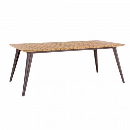 Gartentisch Teakholzplatte und Homemotion Aluminiumbasis - Amabel