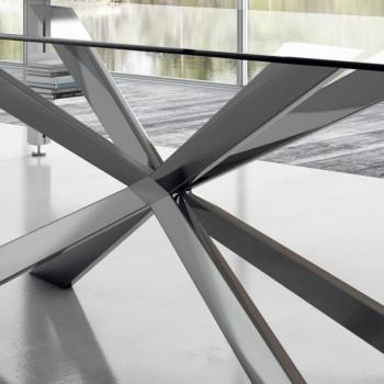 Barrel Esstisch aus Glas und Stahl Made in Italy - Grotta