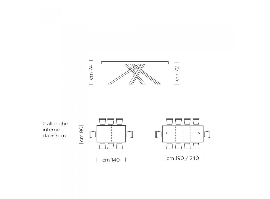 Ausziehbarer Esstisch 310 cm Melamin Made in Italy - Argentario