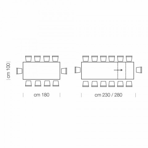 Ausziehbarer Esstisch bis 260 cm in modernem Design Holz - Gabicce