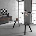 Ausziehbarer Tisch bis 260 cm, Glasplan und Eschenholz Empoli