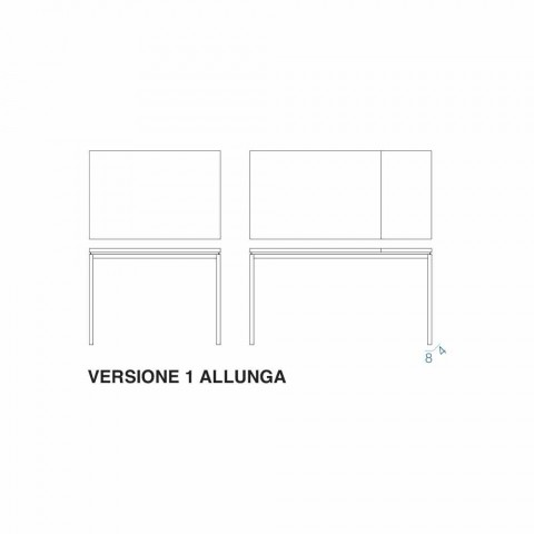 Ausziehbarer Esstisch Bis zu 204 cm in Made in Italy Crystal - Palladio