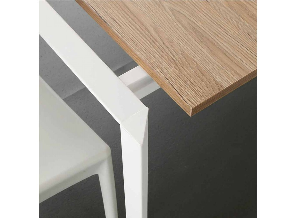 Ausziehbarer Esstisch Bis zu 230 cm aus Melamin Made in Italy - Platin