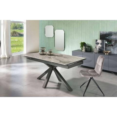 Ausziehbarer Esstisch Bis zu 240 cm in Metall und Keramik - Laryssa