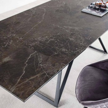 Ausziehbarer Esstisch Bis zu 240 cm aus Keramikglas und Stahl - Bortolo