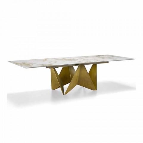 Ausziehbarer Esstisch Bis zu 294 cm in Made in Italy Marmorsteinzeug - Makro