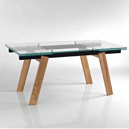 Moderner ausziehbarer Esstisch aus Glas made in Italy, Azad
