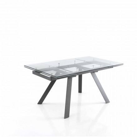 Ausziehbarer Esstisch bis zu 240 cm aus Glas - Basilea