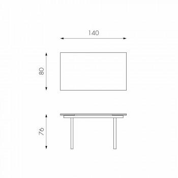 Moderner ausziehbarer Glasesstisch, L140 / 200x P80 cm, Nardo