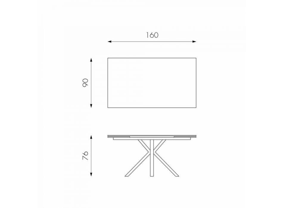 Ausziehbarer Glaskeramik-Esstisch, l.160 / 240xp.90 cm, Bacco