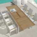 Ausziehbarer Esstisch für den Garten aus Teakholz Timber