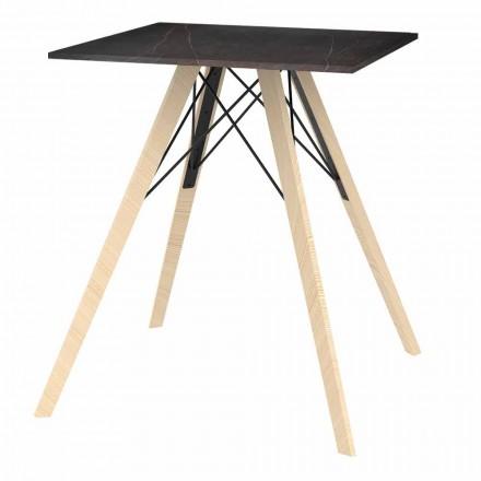 Design Esstisch aus Holz und quadratischem Dekton 4 Stück - Faz Wood von Vondom