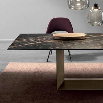 Ausziehbarer Esstisch aus Keramik und Metall Made in Italy - Dunkelbraun