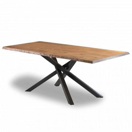 Design Esstisch aus Holz mit Stahlsockel Made in Italy - Licis