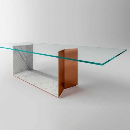 Esstisch aus Glas mit Metall- und Marmorsockel Made in Italy - Minera