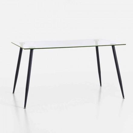 Esstisch in modernem Design aus gehärtetem Glas und schwarzem Metall - Foulard