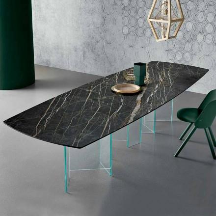 Keramik-Esstisch und extraleichter Glassockel Made in Italy - Zufällig