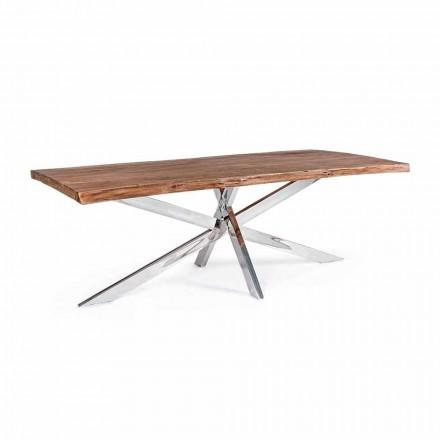 Homemotion Design Esstisch aus Holz und Edelstahl - Kaily
