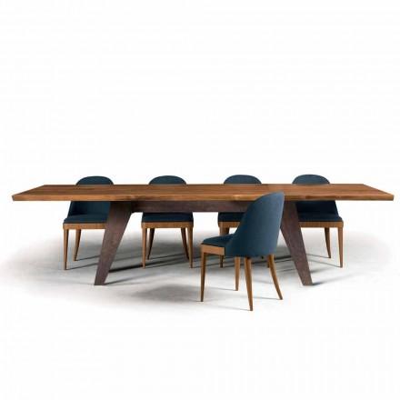 Esstisch aus entrindetem natürlichem Nussholz, Design Antonio