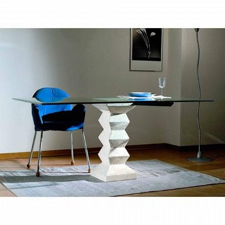 Moderner Esstisch aus Stein und Kristall in modernem Design Bacco