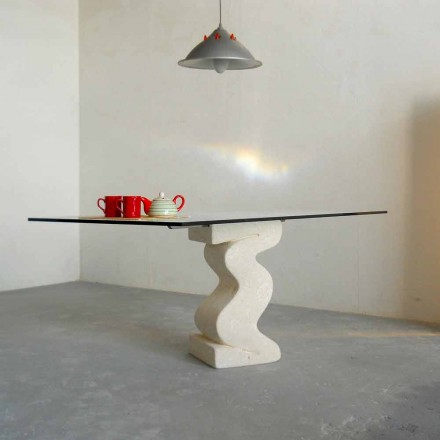 Esstisch in modernem Design aus Stein und Kristall Anteros