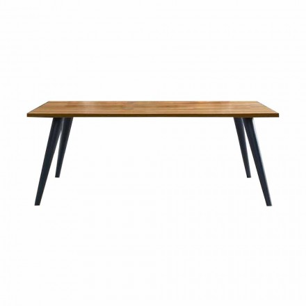 Moderner Esstisch mit Holzplatte und Sockel Made in Italy - Motta
