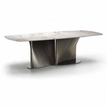 Luxus-Esstisch aus Steinzeug und Eschenholz Made in Italy - Croma