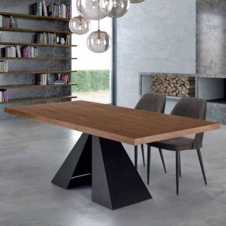 Moderner Esstisch aus Holz und Stahl, 10 Sitzplätze – Dalmata