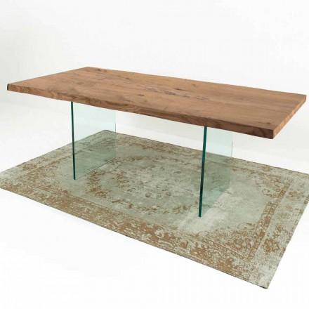 Moderner Esstisch aus Furnierholz und Glas Made in Italy – Strappo
