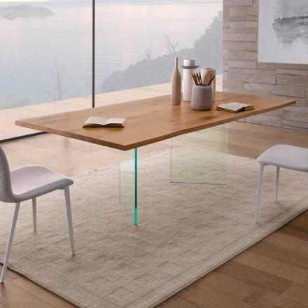 Esstisch aus geknoteter Eiche und hochwertigem Glas Made in Italy - Sibillo