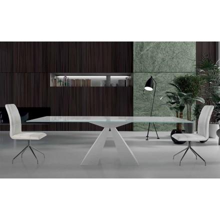 Moderner Esstisch aus Glas und weissem Stahl Made in Italy – Dalmata