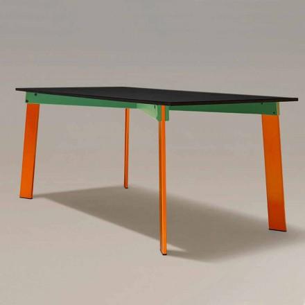 Moderner Esstisch Holzplatte und Stahlsockel Made in Italy - Aronte