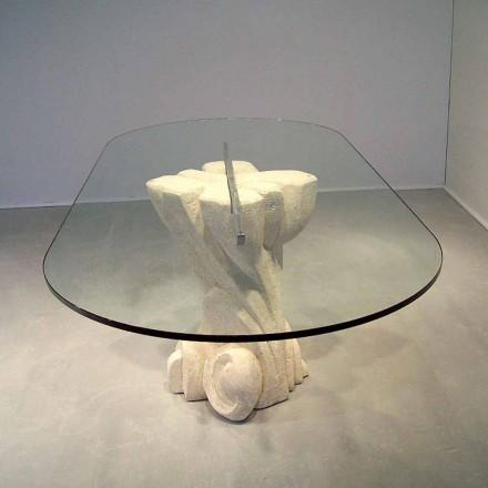Esstisch oval aus Stein und Kristall in modernem Design Afrodite