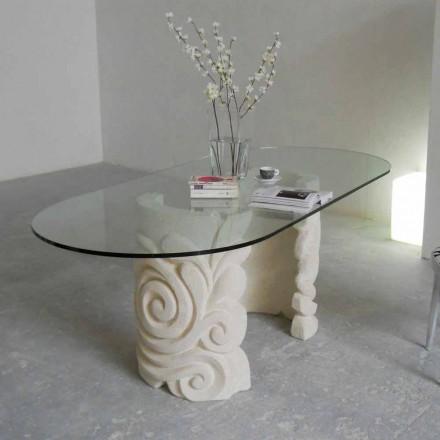 Ovaler Tisch aus Stein und Kristall in modenrem Design Aden
