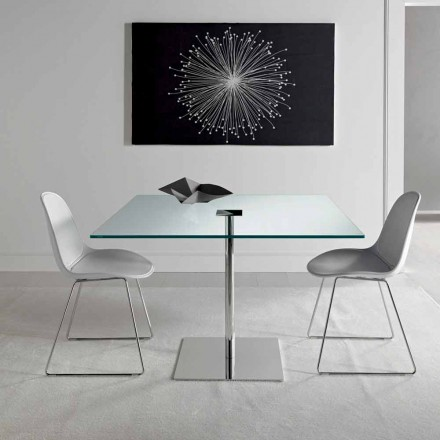 Quadratischer Esstisch aus extraleichtem Glas und Metall Made in Italy - Dolce