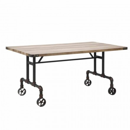 Esstisch mit rechteckigem Design, MDF-Platte und Metallbasis - Fabrice