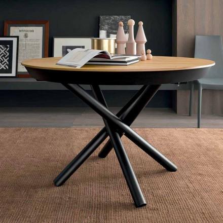 Runder ausziehbarer Esstisch mit Holzplatte Made in Italy - Crodino