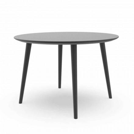 Runder Garten-Esstisch aus weißem Aluminium oder Holzkohle - Sofy Talenti