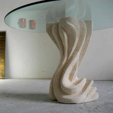 Esstisch rund aus Stein und Kristall in modernem Design Cadmo